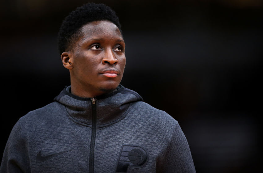 CHICAGO, ILLINOIS - JANUARY 04: Victor Oladipo #4 of the Indiana Pacers warms up before the game against the Chicago Bulls at the United Center on January 04, 2019 in Chicago, Illinois. NOTE TO USER: User expressly acknowledges and agrees that, by downloading and or using this photograph, User is consenting to the terms and conditions of the Getty Images License Agreement. (Photo by Dylan Buell/Getty Images)