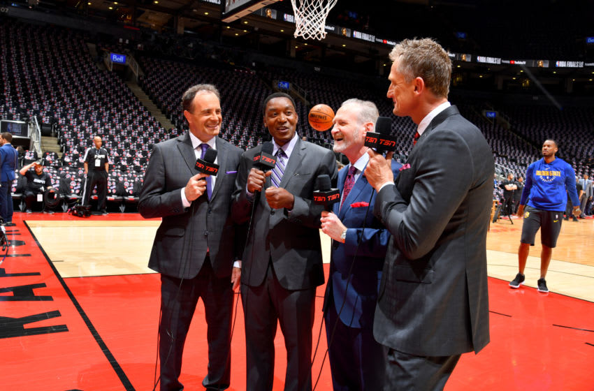 TORONTO, CANADA - MAY 30: Commentators, Rod Black, Isiah Thomas, and Jack Armstrong, and Leo Rautins talk before Game One of the NBA Finals on May 30, 2019 at Scotiabank Arena in Toronto, Ontario, Canada. NOTE TO USER: User expressly acknowledges and agrees that, by downloading and/or using this photograph, user is consenting to the terms and conditions of the Getty Images License Agreement. Mandatory Copyright Notice: Copyright 2019 NBAE (Photo by Jesse D. Garrabrant/NBAE via Getty Images)