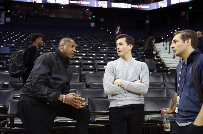 Masai Ujiri and Bobby Webster with ESPN writer Zach Lowe (Photo by Joe Murphy/NBAE via Getty Images)