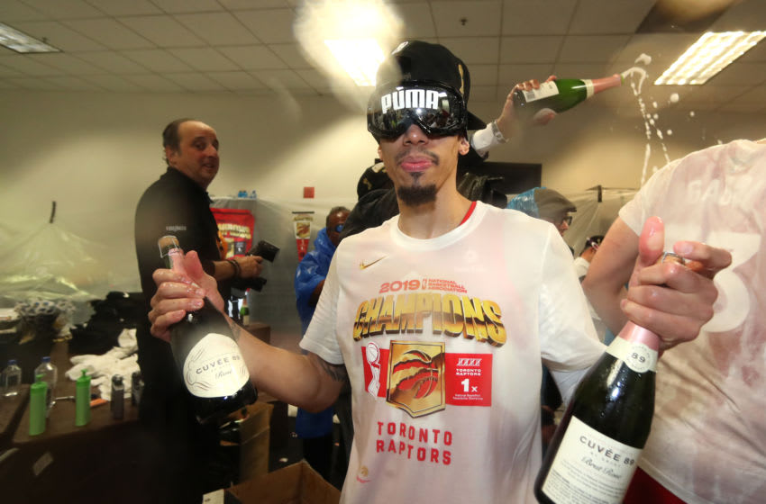 OAKLAND, CA - JUNE 13: Danny Green #14 of the Toronto Raptors celebrates in the locker room after defeating the Golden State Warriors in Game Six of the 2019 NBA Finals on June 13, 2019 at ORACLE Arena in Oakland, California. NOTE TO USER: User expressly acknowledges and agrees that, by downloading and/or using this photograph, user is consenting to the terms and conditions of Getty Images License Agreement. Mandatory Copyright Notice: Copyright 2019 NBAE (Photo by Nathaniel S. Butler/NBAE via Getty Images)