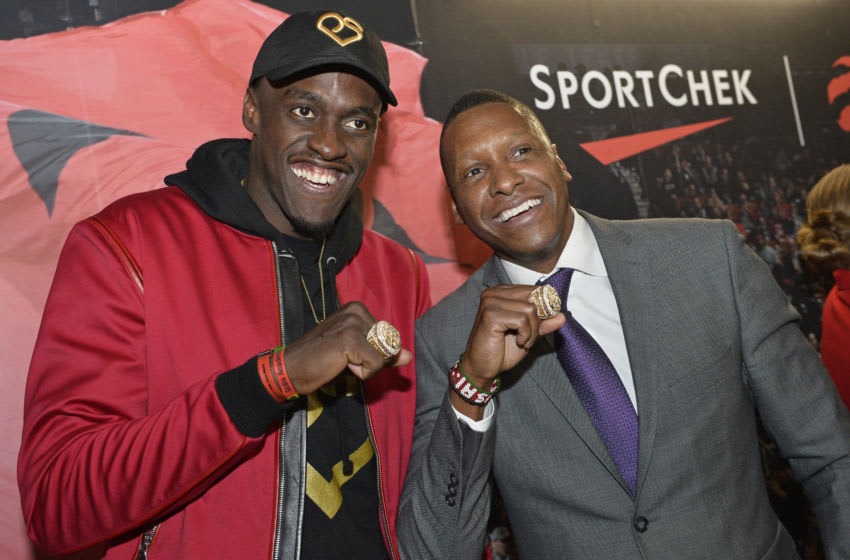 TORONTO, CANADA - OCTOBER 22: President Masai Ujiri, and Pascal Siakam #43 of the Toronto Raptors pose for a photo with their Championship Ring after the game against the New Orleans Pelicans on October 22, 2019 at the Scotiabank Arena in Toronto, Ontario, Canada. NOTE TO USER: User expressly acknowledges and agrees that, by downloading and or using this Photograph, user is consenting to the terms and conditions of the Getty Images License Agreement. Mandatory Copyright Notice: Copyright 2019 NBAE (Photo by David Dow/NBAE via Getty Images)
