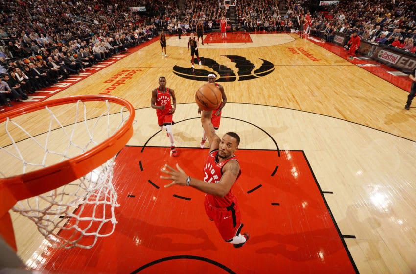 TORONTO, CANADA - DECEMBER 16: Norman Powell #24 of the Toronto Raptors goes up for a dunk during the game against the Cleveland Cavaliers on December 16, 2019 at the Scotiabank Arena in Toronto, Ontario, Canada. NOTE TO USER: User expressly acknowledges and agrees that, by downloading and or using this Photograph, user is consenting to the terms and conditions of the Getty Images License Agreement. Mandatory Copyright Notice: Copyright 2019 NBAE (Photo by Peter Power/NBAE via Getty Images)