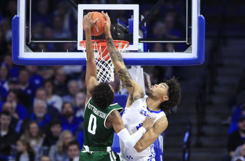 LEXINGTON, KENTUCKY - NOVEMBER 29: Nick Richards #4 of the Kentucky Wildcats defends the shot of Tyreek Scott-Grayson #0 of the UAB Blazers at Rupp Arena on November 29, 2019 in Lexington, Kentucky. (Photo by Andy Lyons/Getty Images)