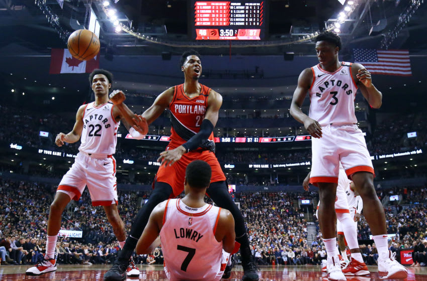 TORONTO, ON - JANUARY 07: Hassan Whiteside #21 of the Portland Trail Blazers reacts after dunking the ball during the first half of an NBA game against the Toronto Raptors at Scotiabank Arena on January 07, 2020 (Photo by Vaughn Ridley/Getty Images)