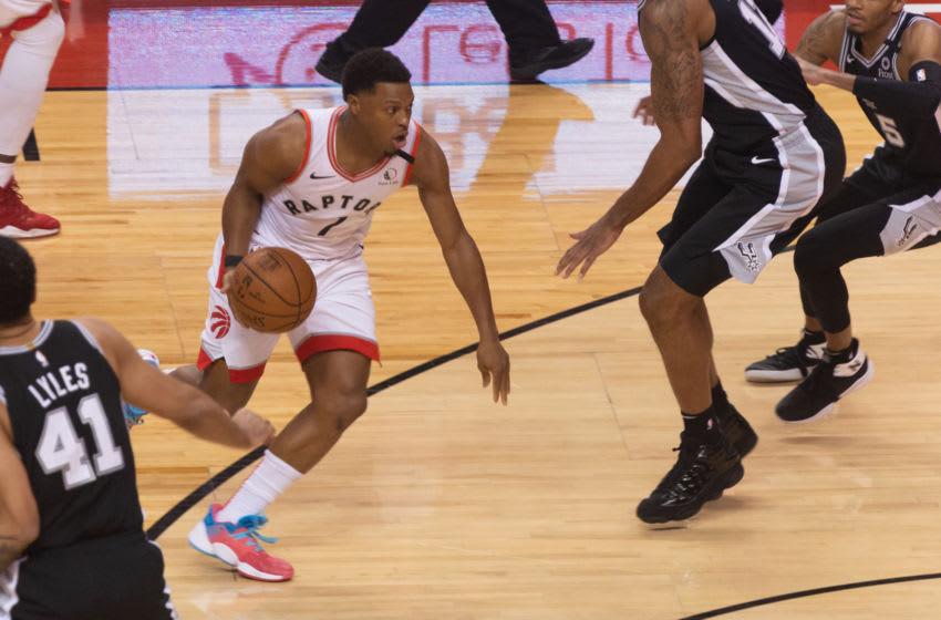 Kyle Lowry #7 of the Toronto Raptors moves with the ball during the Toronto Raptors vs San Antonio Spurs NBA regular season game at Scotiabank Arena on January 12, 2020 in Toronto, Canada (San Antonio Spurs won 105-104) (Photo by Anatoliy Cherkasov/NurPhoto via Getty Images)