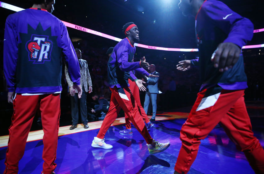 TORONTO, ON - DECEMBER 11: Pascal Siakam #43 of the Toronto Raptors is introduced prior to an NBA game against the Los Angeles Clippers at Scotiabank Arena on December 11, 2019 in Toronto, Canada. NOTE TO USER: User expressly acknowledges and agrees that, by downloading and or using this photograph, User is consenting to the terms and conditions of the Getty Images License Agreement. (Photo by Vaughn Ridley/Getty Images)