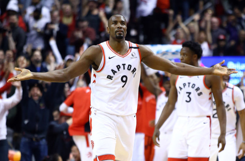 TORONTO, ON - JANUARY 12: Serge Ibaka #9 of the Toronto Raptors reacts after sinking a three pointer during the second half of an NBA game against the San Antonio Spurs at Scotiabank Arena on January 12, 2020 in Toronto, Canada. NOTE TO USER: User expressly acknowledges and agrees that, by downloading and or using this photograph, User is consenting to the terms and conditions of the Getty Images License Agreement. (Photo by Vaughn Ridley/Getty Images)