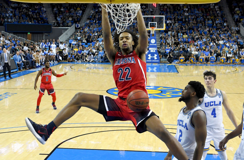 LOS ANGELES, CA - FEBRUARY 29: Zeke Nnaji #22 of the Arizona Wildcats dunks the ball in the second half of the game against the UCLA Bruins at Pauley Pavilion on February 29, 2020 in Los Angeles, California. The UCLA Bruins defeated the Arizona Wildcats 69-64. (Photo by Jayne Kamin-Oncea/Getty Images)