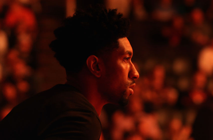PHOENIX, ARIZONA - FEBRUARY 28: Christian Wood #35 of the Detroit Pistons stands on the court before the start of the NBA game against the Phoenix Suns at Talking Stick Resort Arena on February 28, 2020 in Phoenix, Arizona. The Pistons defeated the Suns 113-111. NOTE TO USER: User expressly acknowledges and agrees that, by downloading and or using this photograph, user is consenting to the terms and conditions of the Getty Images License Agreement. Mandatory Copyright Notice: Copyright 2020 NBAE. (Photo by Christian Petersen/Getty Images)
