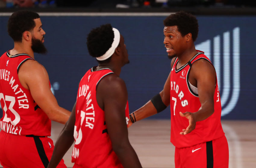 Fred VanVleet, Kyle Lowry and Pascal Siakam, Toronto Raptors (Photo by Kim Klement-Pool/Getty Images)