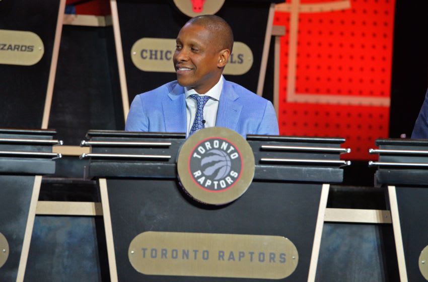 NEW YORK, NEW YORK - MAY 17: Masai Ujiri of the Toronto Raptors sits in his seat during the 2016 NBA Draft Lottery at the New York Hilton in New York, New York. NOTE TO USER: User expressly acknowledges and agrees that, by downloading and or using this Photograph, user is consenting to the terms and conditions of the Getty Images License Agreement. Mandatory Copyright Notice: Copyright 2016 NBAE (Photo by Jesse D. Garrabrant/NBAE via Getty Images)