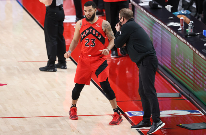 PORTLAND, OREGON - JANUARY 11: Fred VanVleet #23 and head coach Nick Nurse of the Toronto Raptors (Photo by Abbie Parr/Getty Images)