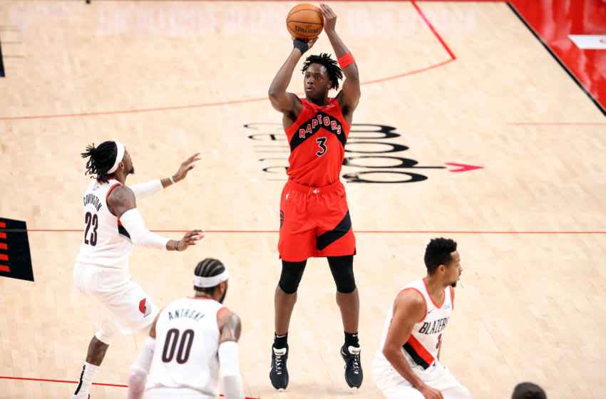 PORTLAND, OREGON - JANUARY 11: OG Anunoby #3 of the Toronto Raptors (Photo by Abbie Parr/Getty Images)