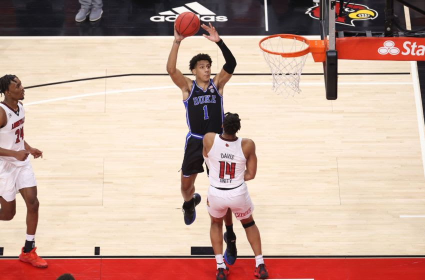 LOUISVILLE, KENTUCKY - JANUARY 23: Jalen Johnson #1 of the Duke Blue Devils (Photo by Andy Lyons/Getty Images)