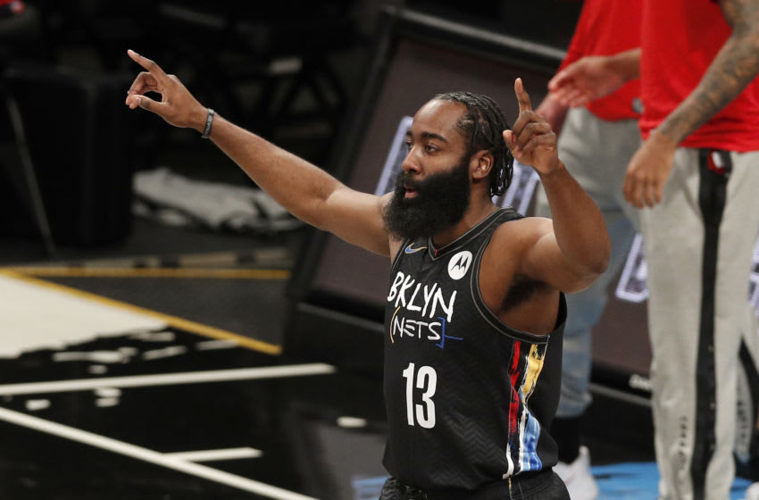 NEW YORK, NEW YORK - FEBRUARY 05: (NEW YORK DAILIES OUT) James Harden #13 of the Brooklyn Nets (Photo by Jim McIsaac/Getty Images)
