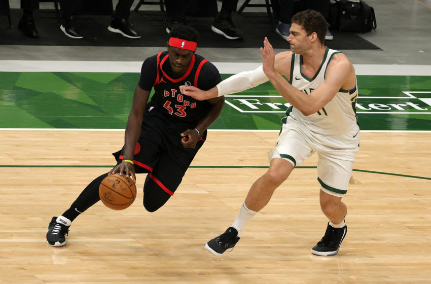 MILWAUKEE, WISCONSIN - FEBRUARY 16: Pascal Siakam #43 of the Toronto Raptors (Photo by Stacy Revere/Getty Images)