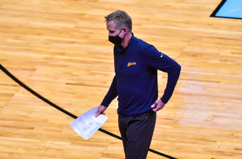 MIAMI, FL - APRIL 01: Head coach Steve Kerr of the Golden State Warriors (Photo by Eric Espada/Getty Images)