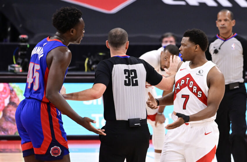 TAMPA, FLORIDA - MARCH 03: Kyle Lowry #7 of the Toronto Raptors and Sekou Doumbouya #45 of the Detroit Pistons (Photo by Douglas P. DeFelice/Getty Images)