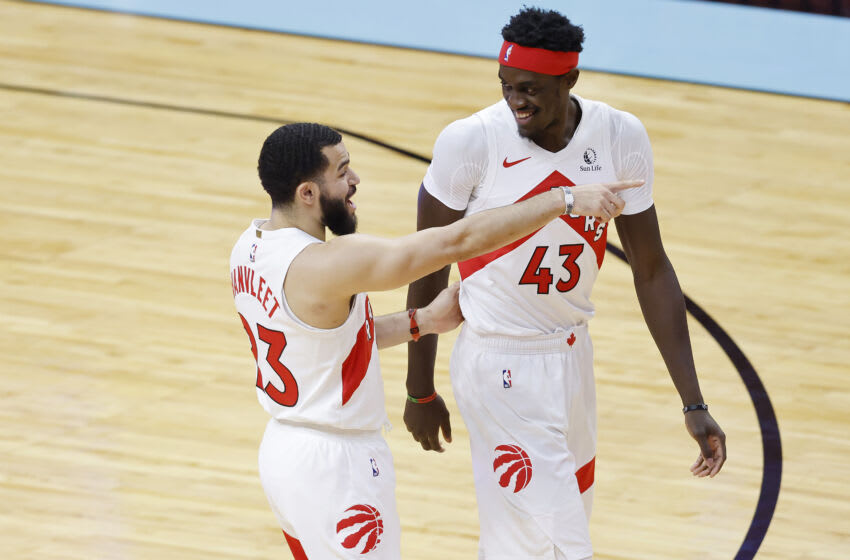 MIAMI, FLORIDA - FEBRUARY 24: Fred VanVleet #23 and Pascal Siakam #43 of the Toronto Raptors (Photo by Michael Reaves/Getty Images)