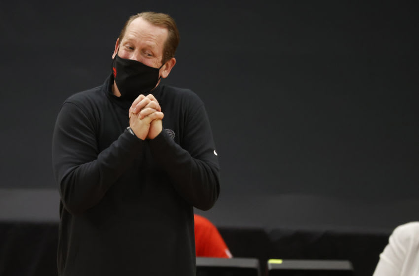 Jan 31, 2021; Tampa, Florida, USA; Toronto Raptors head coach Nick Nurse reacts during the second quarter against the Orlando Magic at Amalie Arena. Mandatory Credit: Kim Klement-USA TODAY Sports