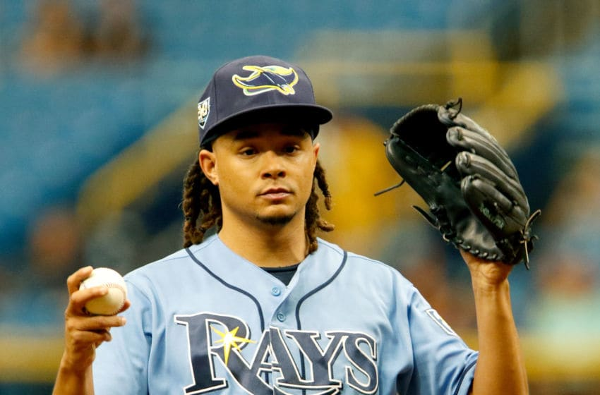 Chris Archer just ten days prior to the trade that sent him to Pittsburgh. (Photo by Joseph Garnett Jr./Getty Images)