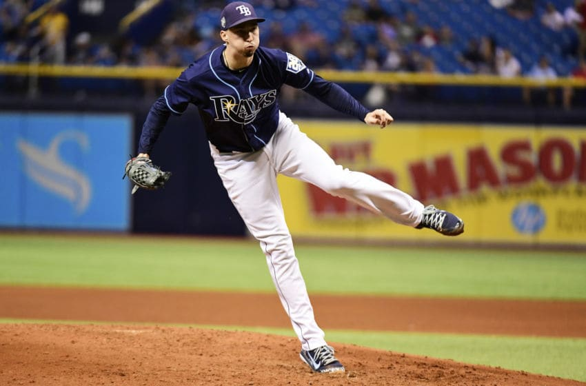ST PETERSBURG, FL - SEPTEMBER 29: Blake Snell #4 of the Tampa Bay Rays throws a pitch in the fifth inning against the Toronto Blue Jays on September 29, 2018 at Tropicana Field in St Petersburg, Florida. (Photo by Julio Aguilar/Getty Images)