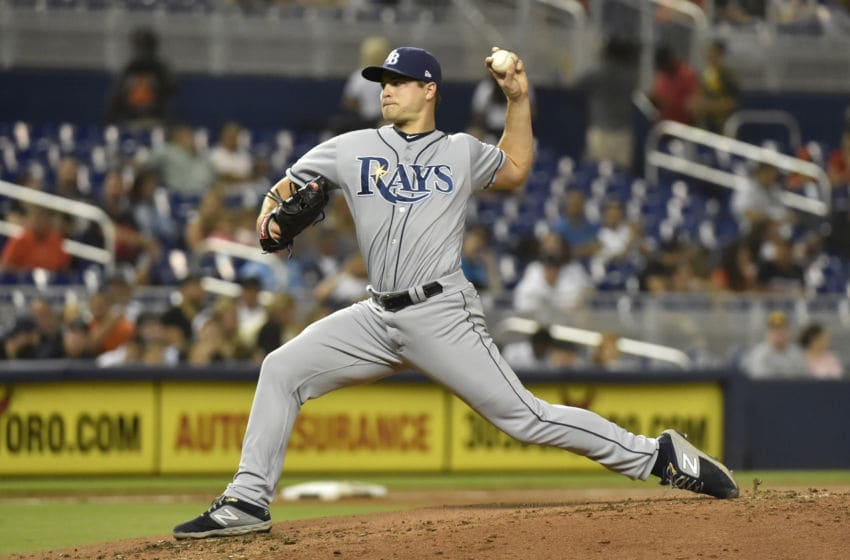 MIAMI, FL - MAY 15: Jalen Beeks #68 of the Tampa Bay Rays throws a pitch during the second inning of the game against the Miami Marlins at Marlins Park on May 15, 2019 in Miami, Florida. (Photo by Eric Espada/Getty Images)