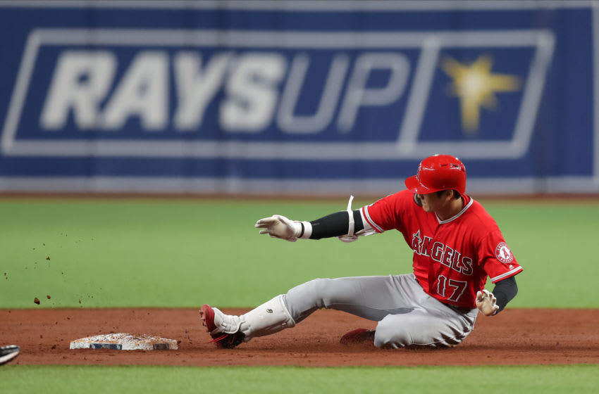 ST. PETERSBURG, FL - JUNE 13: Shohei Ohtani #17 of the Los Angeles Angels slides in safely with a double in the third inning of a baseball game against the Tampa Bay Rays at Tropicana Field on June 13, 2019 in St. Petersburg, Florida. (Photo by Mike Carlson/Getty Images)