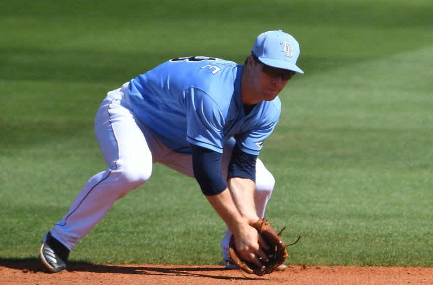 Nate Lowe of the Tampa Bay Rays (Photo by Mark Brown/Getty Images)