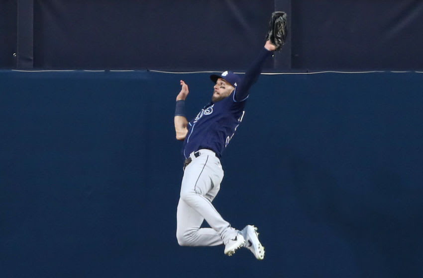 Kevin Kiermaier of the Tampa Bay Rays steals a home run in the ALCS. (Photo by Ezra Shaw/Getty Images)