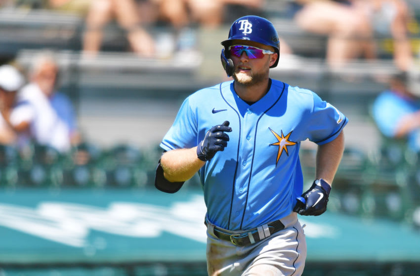 BRADENTON, FLORIDA - MARCH 17: Austin Meadows #17 of the Tampa Bay Rays runs home after hitting a two-run home run off of Mitch Keller of the Pittsburgh Pirates in the third inning of a spring training game on March 17, 2021 at LECOM Park in Bradenton, Florida. (Photo by Julio Aguilar/Getty Images)