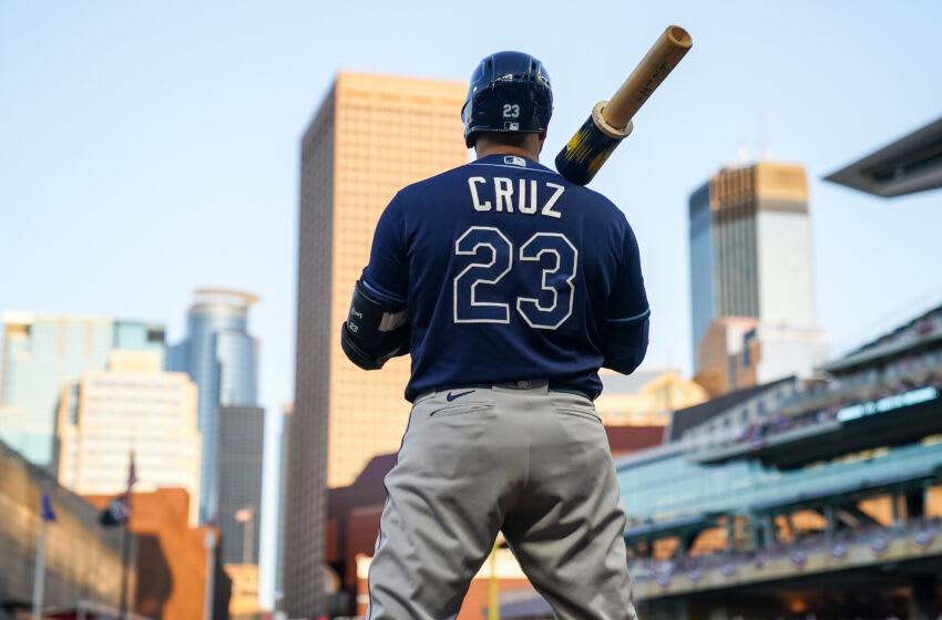 MINNEAPOLIS, MN - AUGUST 14: Nelson Cruz #23 of the Tampa Bay Rays looks on against the Minnesota Twins on August 14, 2021 at Target Field in Minneapolis, Minnesota. (Photo by Brace Hemmelgarn/Minnesota Twins/Getty Images)