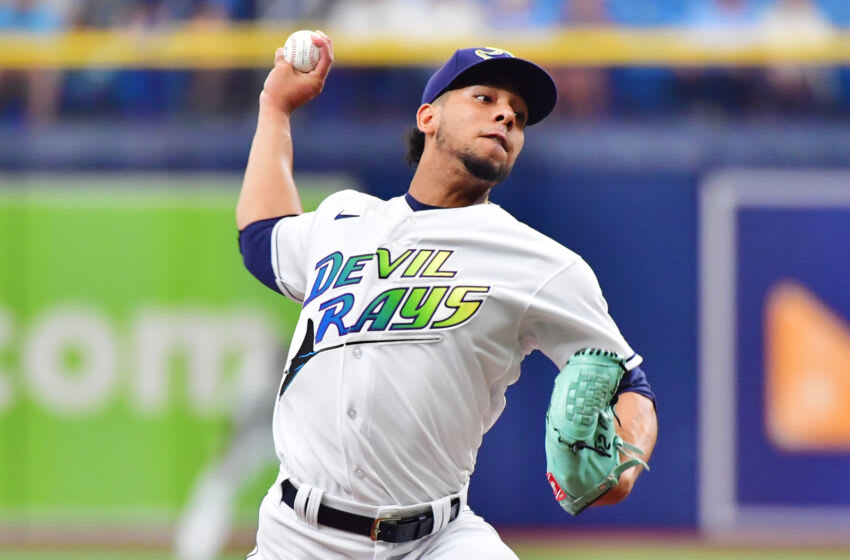 ST PETERSBURG, FLORIDA - AUGUST 21: Luis Patino #61 of the Tampa Bay Rays delivers a pitch to the Chicago White Sox in the first inning at Tropicana Field on August 21, 2021 in St Petersburg, Florida. (Photo by Julio Aguilar/Getty Images)