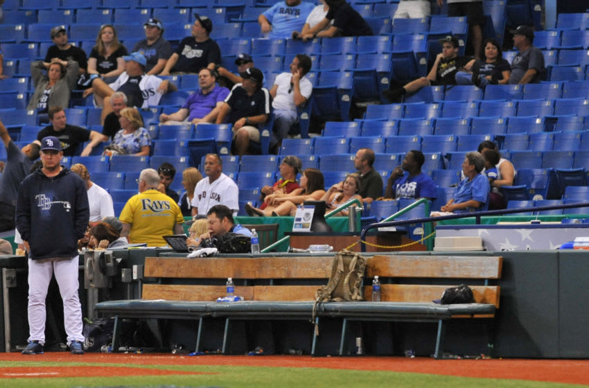 ST. PETERSBURG, FL - JUNE 10: The bullpen bench of the Tampa Bay Rays is empty as the game enters the 14th inning against the Boston Red Sox June 10, 2013 at Tropicana Field in St. Petersburg, Florida. Boston won 10 - 8. (Photo by Al Messerschmidt/Getty Images)