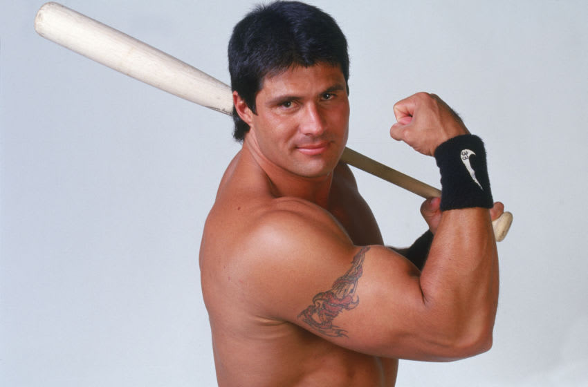 OAKLAND, CA - JUNE 2: Jose Canseco of the Tampa Bay DelivRays poses for a portrait on June 2, 1999 in Oakland, California. (Photo by Michael Zagaris/MLB Photos via Getty Images)