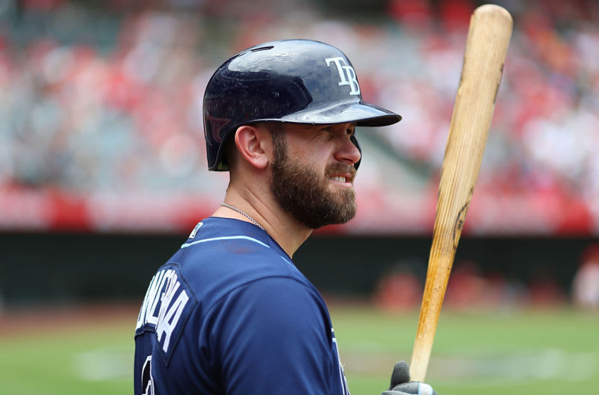 ANAHEIM, CA - JULY 16: Evan Longoria #3 of the Tampa Bay Rays prepares to bat in the fourth inning against the Los Angeles Angels at Angel Stadium of Anaheim on July 16, 2017 in Anaheim, California. (Photo by Joe Scarnici/Getty Images)