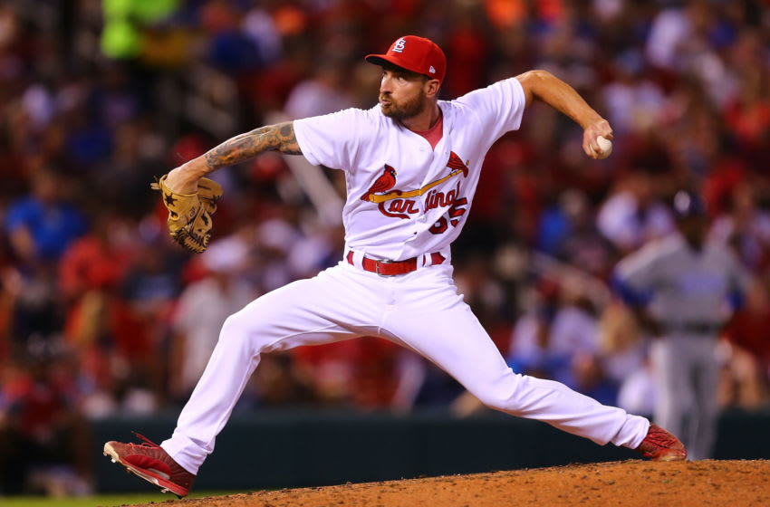 ST. LOUIS, MO - SEPTEMBER 25: Ryan Sherriff #65 of the St. Louis Cardinals pitches against the Chicago Cubs in the fifth inning at Busch Stadium on September 25, 2017 in St. Louis, Missouri. (Photo by Dilip Vishwanat/Getty Images)