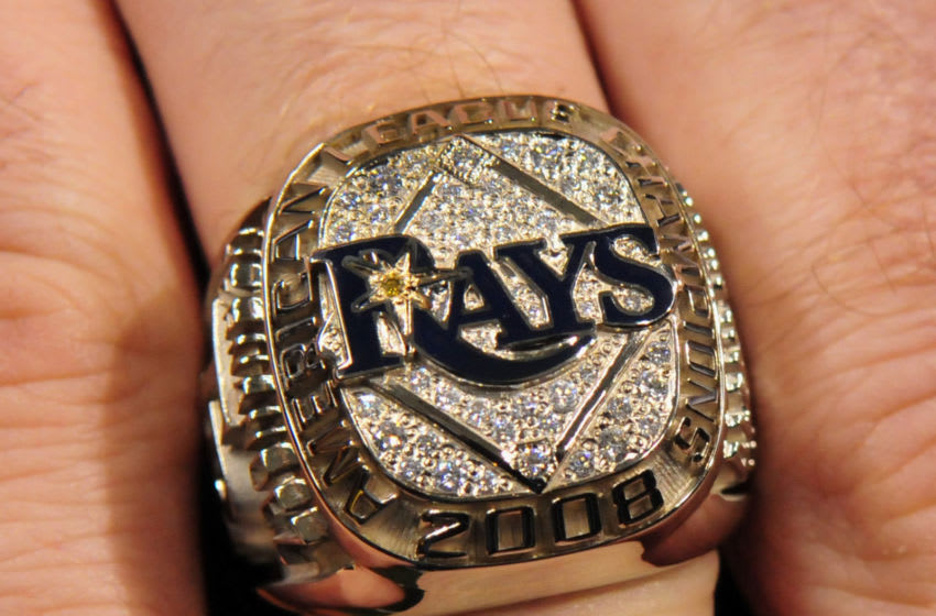ST. PETERSBURG, FL - APRIL 14: The 2008 AL championship ring of the Tampa Bay Rays were awarded before play against the New York Yankees April 14, 2009 in St. Petersburg, Florida. (Photo by Al Messerschmidt/Getty Images)