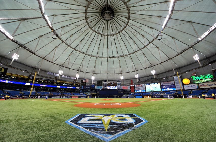 ST PETERSBURG, FL - MAY 22: A general view of Tropicana Field during a game between the Tampa Bay Rays and the Boston Red Sox on May 22, 2018 in St Petersburg, Florida. (Photo by Mike Ehrmann/Getty Images)
