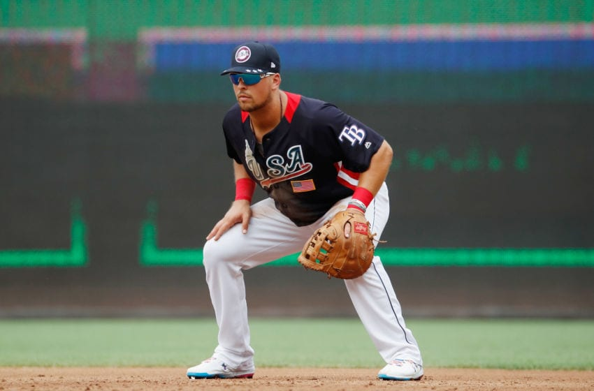 WASHINGTON, DC - JULY 15: Nate Lowe #35 of the Tampa Bay Rays and the U.S. Team plays first base against the World Team during the SiriusXM All-Star Futures Game at Nationals Park on July 15, 2018 in Washington, DC. (Photo by Patrick McDermott/Getty Images)