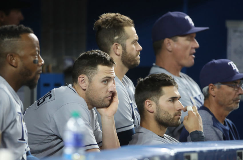 TORONTO, ON - APRIL 30: (From L to R) Tampa Bay Rays coaches Jim Hickey and bench coach Tom Foley (Photo by Tom Szczerbowski/Getty Images)
