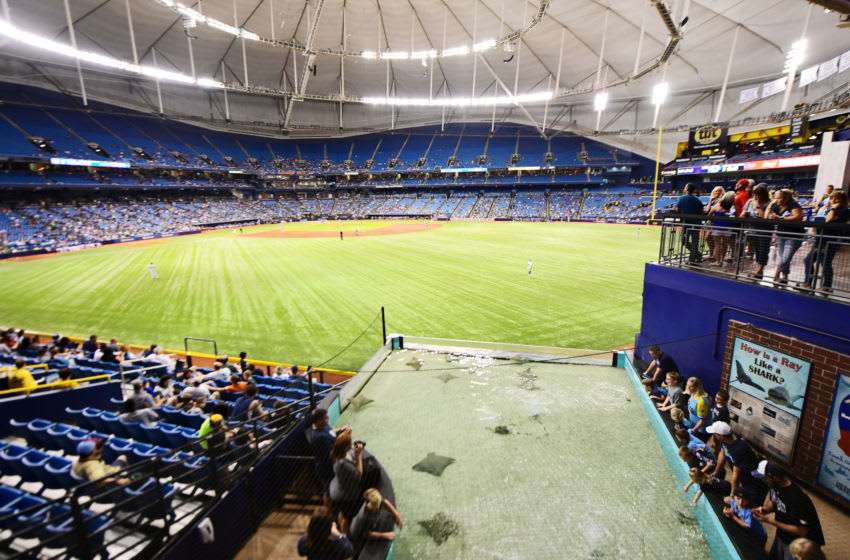 ST PETERSBURG, FL - SEPTEMBER 29: Fans enjoy the stingray tank during the sixth inning of a game against the Tampa Bay Rays and the Toronto Blue Jays on September 29, 2018 at Tropicana Field in St Petersburg, Florida. (Photo by Julio Aguilar/Getty Images)