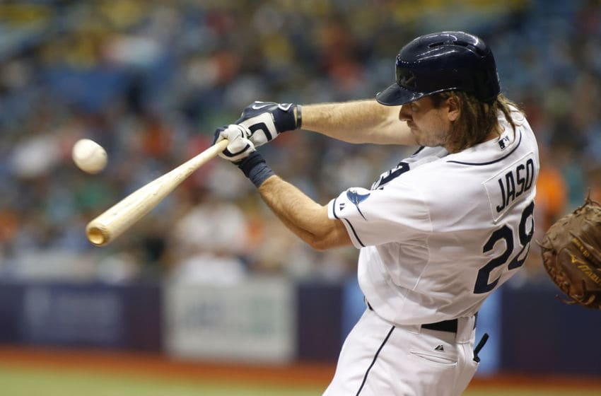 ST. PETERSBURG, FL - JULY 29: John Jaso #28 of the Tampa Bay Rays flies out to left field off of pitcher Justin Verlander #35 of the Detroit Tigers during the fourth inning of a game on July 29, 2015 at Tropicana Field in St. Petersburg, Florida. (Photo by Brian Blanco/Getty Images)