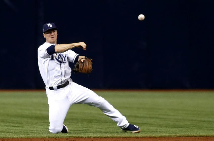 ST. PETERSBURG, FL - JUNE 11: Second baseman Joey Wendle #18 of the Tampa Bay Rays fields the ground out by Yangervis Solarte of the Toronto Blue Jays during the third inning of a game on June 11, 2018 at Tropicana Field in St. Petersburg, Florida. (Photo by Brian Blanco/Getty Images)