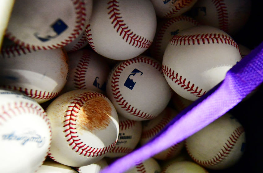 ST PETERSBURG, FLORIDA - APRIL 02: Official MLB baseballs sit in Colorado Rockies bag before a game against the Tampa Bay Rays at Tropicana Field on April 02, 2019 in St Petersburg, Florida. (Photo by Julio Aguilar/Getty Images)