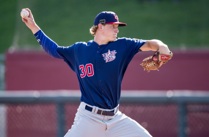 MINNEAPOLIS, MN- AUGUST 23: Cole Wilcox #30 of the USA Baseball 18U National Team during the national team trials on August 23, 2017 at Siebert Field in Minneapolis, Minnesota. (Photo by Brace Hemmelgarn/Getty Images)