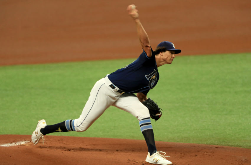 ST PETERSBURG, FLORIDA - JULY 27: Tyler Glasnow #20 of the Tampa Bay Rays pitches during a game against the Atlanta Braves at Tropicana Field on July 27, 2020 in St Petersburg, Florida. (Photo by Mike Ehrmann/Getty Images)