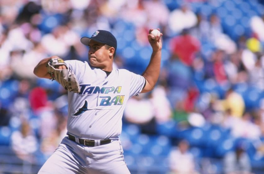 12 Apr 1998: Pitcher Wilson Alvarez of the Tampa Bay Devil Rays in action during a game against the Chicago White Sox at Comiskey Park in Chicago, Illinois. The Devil Rays defeated the White Sox 4-1. Mandatory Credit: Jonathan Kirn /Allsport