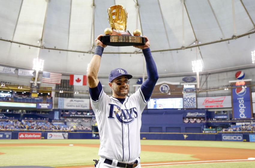 Apr 8, 2017; St. Petersburg, FL, USA; Tampa Bay Rays center fielder Kevin Kiermaier (39) is presented the Gold Glove Award prior to the game against the Toronto Blue Jays at Tropicana Field. Mandatory Credit: Kim Klement-USA TODAY Sports