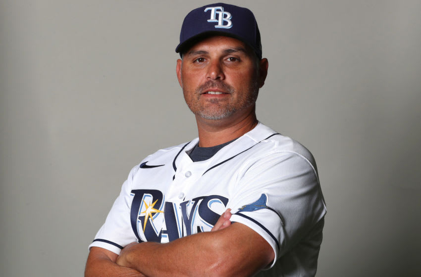 Feb 17, 2020; Port Charlotte, Florida, USA; Tampa Bay Rays manager Kevin Cash (16) poses for a photo during media day. Mandatory Credit: Kim Klement-USA TODAY Sports
